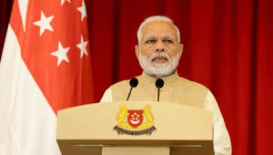 SINGAPORE - JUNE 01:  Indian Prime Minister Narendra Modi speaks during a joint press conference at the Istana on June 1, 2018 in Singapore. Narendra Modi is on a three day official visit to Singapore.  (Photo by Suhaimi Abdullah/Getty Images)