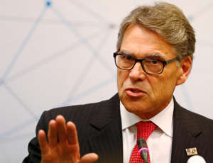 U.S. Secretary of Energy Rick Perry speaks during a news conference after the Partnership for Transatlantic Energy Cooperation conference in Vilnius, Lithuania October 7, 2019. REUTERS/Ints Kalnins