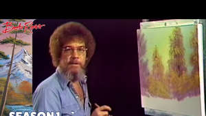 "Bob Ross sitting at a table: Bob Ross introduces us to his ""Almighty"" assortment of tools and colors, tells us that anyone can paint, and creates a landscape of a forest path just after a rain shower.  Subscribe for more full episodes! http://bit.ly/BobRossSubscribe  Official Website: http://www.BobRoss.com  Originally aired on 1/11/1983"