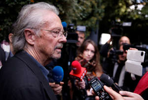 Austrian author Peter Handke addresses the media, following the announcement he won the 2019 Nobel Prize in Literature, in Chaville, near Paris, France October 10, 2019. REUTERS/Christian Hartmann
