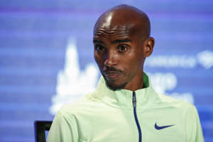 British distance runner Mo Farah attends the Elite Athlete Press Conference for the Chicago Marathon, on October 11 2019 in Chicago, Illinois. (Photo by KAMIL KRZACZYNSKI / AFP) (Photo by KAMIL KRZACZYNSKI/AFP via Getty Images)