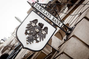 London, United Kingdom - April 29, 2011: Old sign of Barclays Bank in Westminster, London, UK.