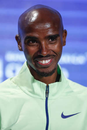 British distance runner Mo Farah smiles during the Elite Athlete Press Conference for the Chicago Marathon, on October 11 2019 in Chicago, Illinois. (Photo by KAMIL KRZACZYNSKI / AFP) (Photo by KAMIL KRZACZYNSKI/AFP via Getty Images)