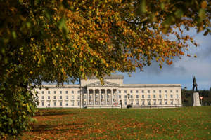 Autumn shows on the trees in the grounds of Stormont estate beside Parliament buildings, Belfast, Northern Ireland, Thursday, Oct. 17, 2019. The Democratic Unionist Party has announced Thursday that it will be unable to support the British Prime Minister's new Brexit deal.(AP Photo/Peter Morrison)