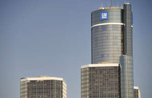 Detroit, Michigan, USA - March 30, 2010: The towers of the Detroit Renaissance Center, the world headquarters of the General Motors Corporation.