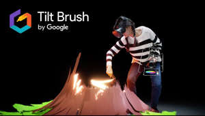 a person wearing a costume: Tilt Brush lets you paint in 3D space with virtual reality. Unleash your creativity with three-dimensional brush strokes, stars, light, and even fire. Your room is your canvas. Your palette is your imagination. The possibilities are endless.   Learn more at http://tiltbrush.com