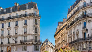 Paris, beautiful buildings boulevard des Batignolles, typical parisian facade