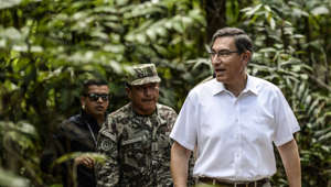 Peru's President Martin Vizcarra (R) arrives for the Presidential Summit for the Amazon at the National University in Leticia, department of Amazonas, Colombia, on September 6, 2019. - Six Amazonian countries will meet Friday in Leticia to agree protection measures for the Amazon rainforest, the lasrgest in the world, hit by fires and deforestation. (Photo by Ernesto BENAVIDES / AFP)        (Photo credit should read ERNESTO BENAVIDES/AFP/Getty Images)