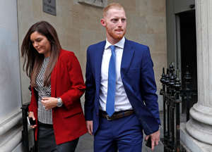 England cricket player Ben Stokes and his wife Clare Ratcliffe leave Bristol Crown Court in Bristol, Britain, August 9, 2018.