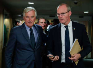 Irish Foreign Minister Simon Coveney meets European Union's chief Brexit negotiator Michel Barnier at the EU Commission headquarters in Brussels, Belgium October 8, 2019.   Stephanie Lecocq/Pool via REUTERS