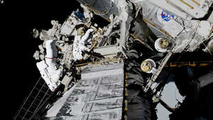 U.S. astronauts Jessica Meir and Christina Koch make the first all-female spacewalk outside the International Space Station in a still image from video October 18, 2019.   NASA/Handout via REUTERS.    THIS IMAGE HAS BEEN SUPPLIED BY A THIRD PARTY.