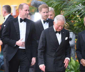 LONDON, ENGLAND - APRIL 04: (L-R) Prince William, Duke of Cambridge, Prince Harry, Duke of Sussex and Prince Charles, Prince of Wales attend the 'Our Planet' global premiere  at Natural History Museum on April 04, 2019 in London, England. (Photo by Karwai Tang/WireImage)