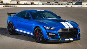 a blue car parked in a parking lot: 2020 Ford Mustang Shelby GT500: First Drive