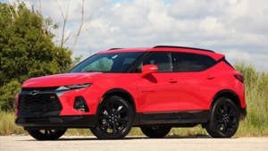 a red car parked on the side of a road: 2020 Chevrolet Blazer RS: Pros And Cons