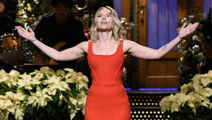 "Scarlett Johansson in a wedding dress: SATURDAY NIGHT LIVE -- ""Scarlett Johansson"" Episode 1776 -- Pictured: Host Scarlett Johansson during the Monologue on Saturday, December 14, 2019 -- (Photo by: Will Heath/NBC/NBCU Photo Bank via Getty Images)"