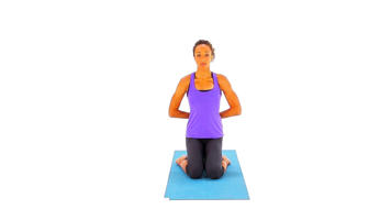 Images selon différents angles : Kneeling, Palms In Reverse Prayer Pose vidéo
