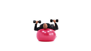 Imágenes con ángulo: Swiss Ball Dumbbell Chest Press vídeo