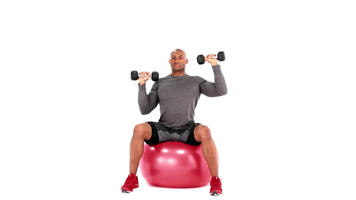 Imágenes con ángulo: Alternating Swiss Ball Dumbbell Shoulder Press video