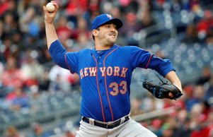 New York Mets starting pitcher Matt Harvey throws during a baseball game against the Washington Nationals at Nationals Park on April 9, 2015, in Washington.