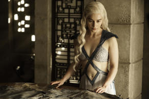 "In this image released by HBO, Daenerys Targaryen, portrayed by Emilia Clarke, appears in a scene from season four of ""Game of Thrones."