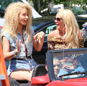 Iggy Azalea and Britney Spears shoot the music video for 'Pretty Girls' in Los Angeles on April 9, 2015