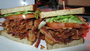 A bacon-lettuce-and-tomato sandwich made with an entire pound of bacon at the Tropicana Casino and Resort in Atlantic City.