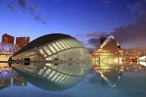 Night scenery of the Arts and Science City Valencia.