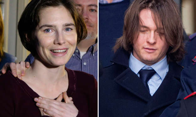Slide 1 of 16: Amanda Knox and Raffaele Solecito