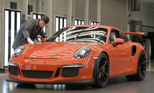 Inside the Porsche factory at Zuffenhausen: Porsche 911 GT3 RS at Zuffenhausen.