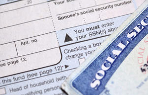 Social security card and tax forms.