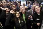 Go Daddy CEO Blake Irving and NASCAR driver Danica Patrick enjoy web hosting company GoDaddy's initial public offering at the New York Stock Exchange April 1, 2015.