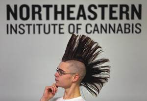 Jeremiah MacKinnon listens during class at the The Northeastern Institute of Cannabis in Natick, Mass.