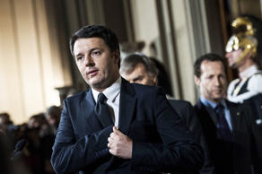 Prime Minister Matteo Renzi press conference to present a list of Ministers, Rom...