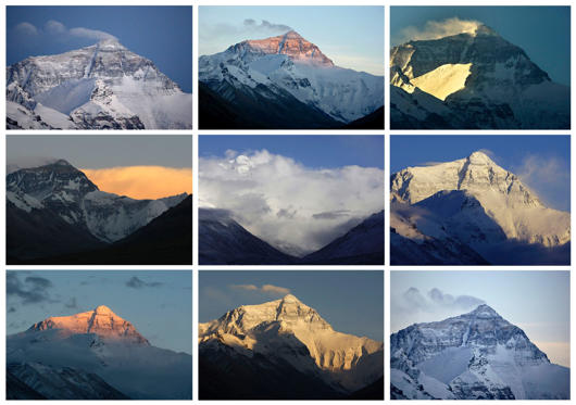 Diapositiva 1 de 25: A combination photo shows the world's highest mountain Mount Everest, also known as Qomolangma, at various times of the day under different weather circumstances from May 3 till May 6, 2008