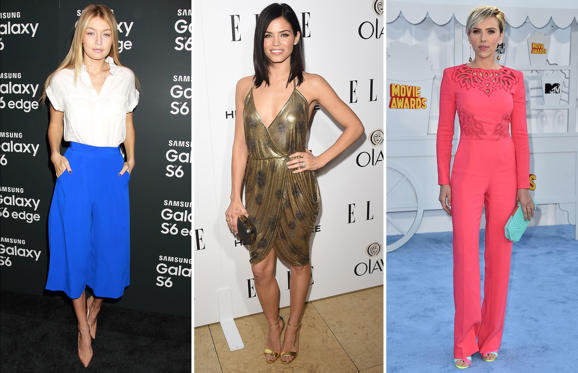 Bild 1 av 18: While some old classics like the polka dots and jumpsuits are back in action, metallic and culottes are some styles to watch out this summer. Click through to take a look at how the celebrities have been sporting some of these hot styles lately.