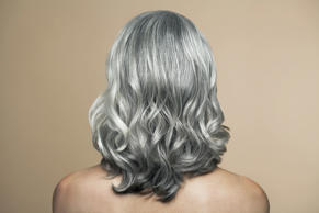 Mature woman with grey hair