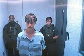 Charleston shooting suspect Dylann Roof, appears before a judge via video in Cha...