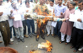 File: Bhopal: Congress workers burn an effigy of Madhya Pradesh Chief Minister Shivraj Singh Chouhan demanding CBI investigation into the death of at least 24 people linked with Vyapam scam in Bhopal on June 29, 2015.