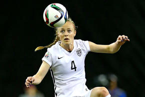 Becky Sauerbrunn of the United States plays the ball in the first half against Germany in their FIFA Women's World Cup Semi-Final Match on June 30, 2015 in Montreal.
