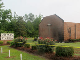 The Mount Zion AME Church in Greeleyville, S.C., is seen on Wednesday, July 1, 2015, after it was heavily damaged by fire.