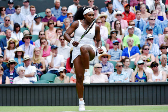 Serena Williams of the U.S.A. reacts during her match against Venus Williams of the U.S.A. at the Wimbledon Tennis Championships in London, July 6, 2015.                  REUTERS/Toby Melville