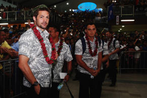 Richie McCaw of the New Zealand All Blacks is welcomed at Faleolo Airport on July 6, 2015 in Apia, Samoa.