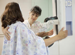 Woman receiving mamogram