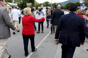 Former United States Secretary of State and Democratic candidate for president Hillary Clinton walks in the Fourth of July Parade in Gorham, New Hampshire, July 4, 2015.