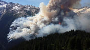 Aerial view of Boulder Creek Wildfire in British Columbia, Canada on July 2, 2015.