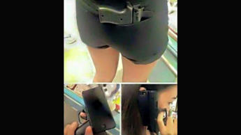 A group of images from the New York City Police Depatment's 112th Precinct's Twitter page showing a gun-shaped iPhone case.