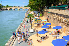 Paris Plages, City Beach on Seine Riverbank in Paris.