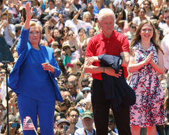 "Democratic presidential candidate, former Secretary of State Hillary Rodham Clinton, left, former President Bill Clinton, center, and daughter Chelsea Clinton appear on stage at the ""Hillary For America"" official campaign launch event at Four Freedoms Park, Roosevelt Island on Saturday, June 13, 2015, in New York."