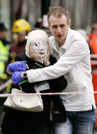 File photo( July 7, 2005): Wounded leaving Edgware Road tube station to be treated at the London Hilton Metropole following the terrorist attacks on the capital.
