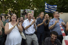 Leader of Podemos political party Pablo Iglesias shout slogans during a demonstration called by associations, unions and left-wing politicians in support of Greece, in Madrid on June 27, 2015.
